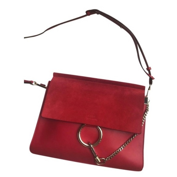 Chloe Handbags - Chloe Medium Faye in Red Leather/Suede